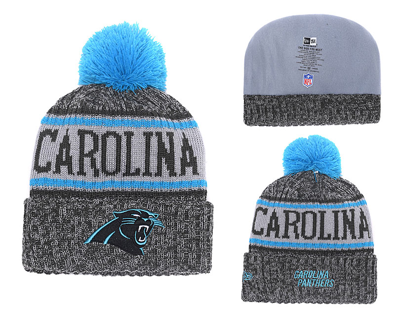 Panthers Gray 2018 NFL Sideline Pom Knit Hat YD