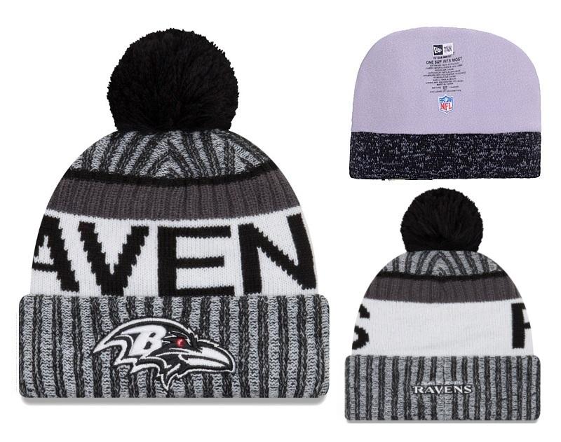 Ravens Black 2017 NFL Sideline Pom Knit Hat YD