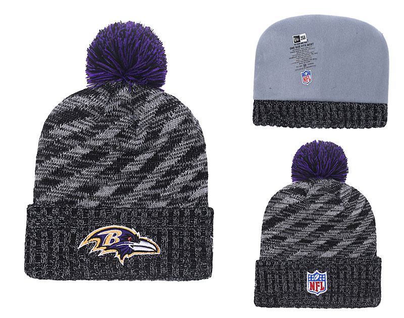 Ravens Black 2018 NFL Sideline Cold Weather Pom Knit Hat YD