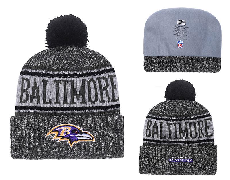 Ravens Black 2018 NFL Sideline Pom Knit Hat YD