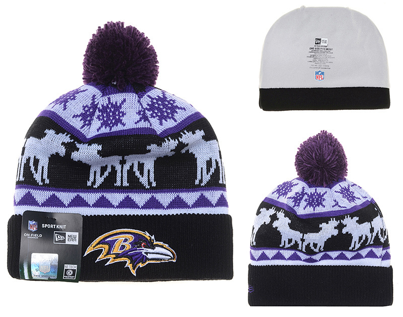 Ravens Fresh Logo Black Moose Pom Knit Hat YD