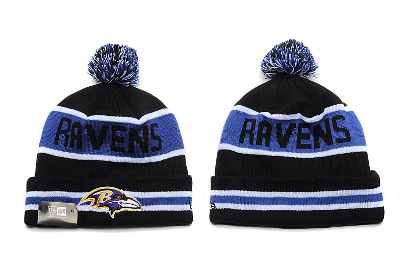 Ravens Fresh Logo Black Pom Knit Hat YD