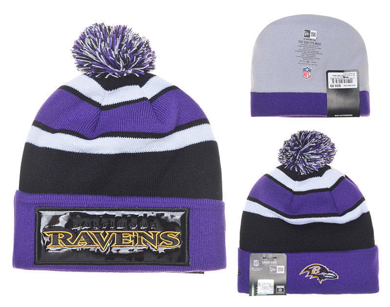 Ravens Fresh Logo Black Purple Pom Knit Hat YD