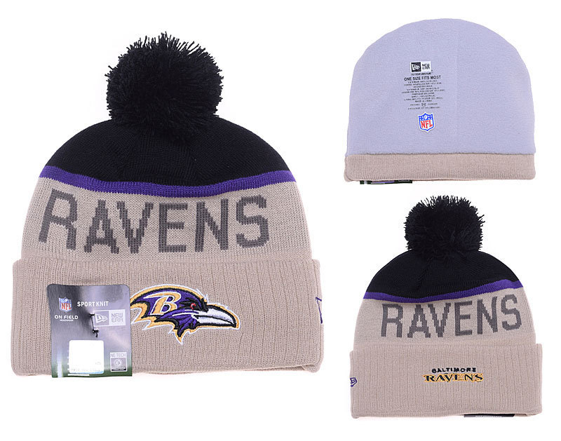 Ravens Fresh Logo Gray Pom Knit Hat YD