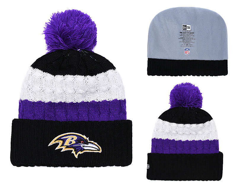 Ravens Fresh Logo White Black Pom Knit Hat YD
