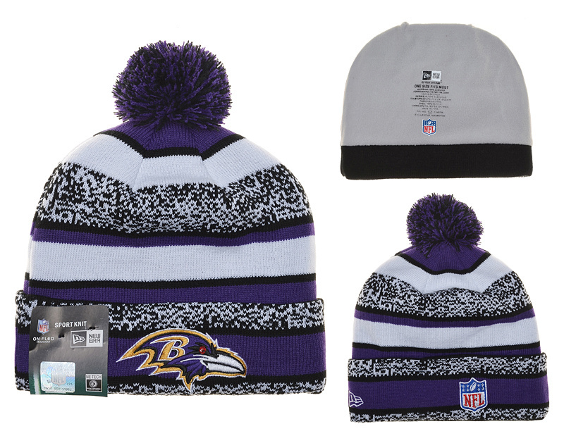 Ravens Fresh Logo White Purple Pom Knit Hat YD
