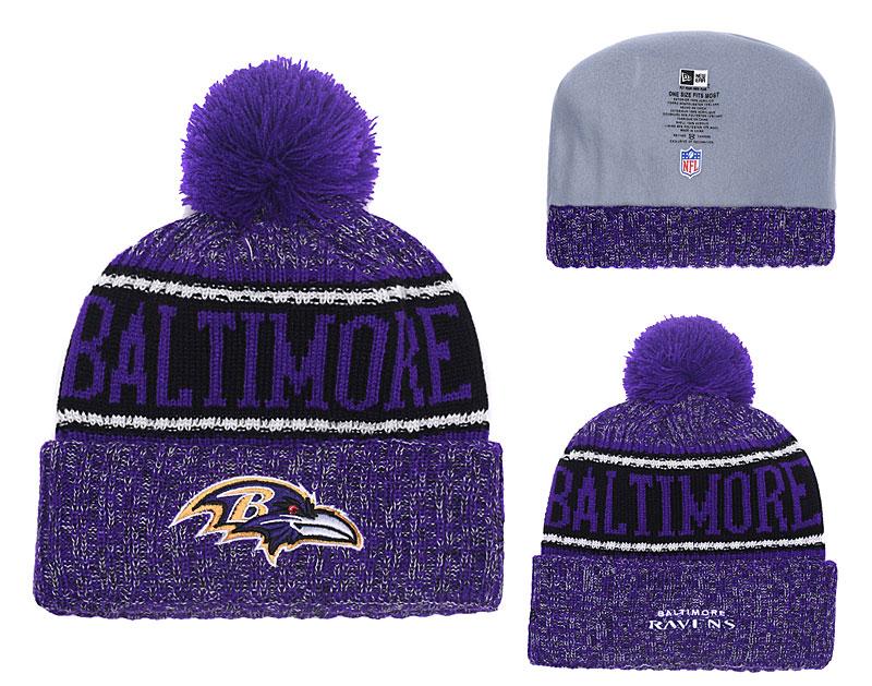 Ravens Purple 2018 NFL Sideline Pom Knit Hat YD