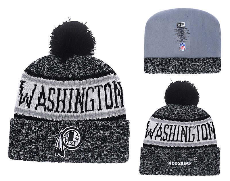 Redskins Black 2018 NFL Sideline Pom Knit Hat YD