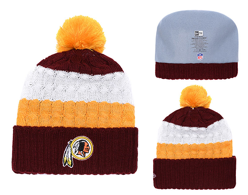 Redskins Classic White Burgundy Pom Knit Hat YD