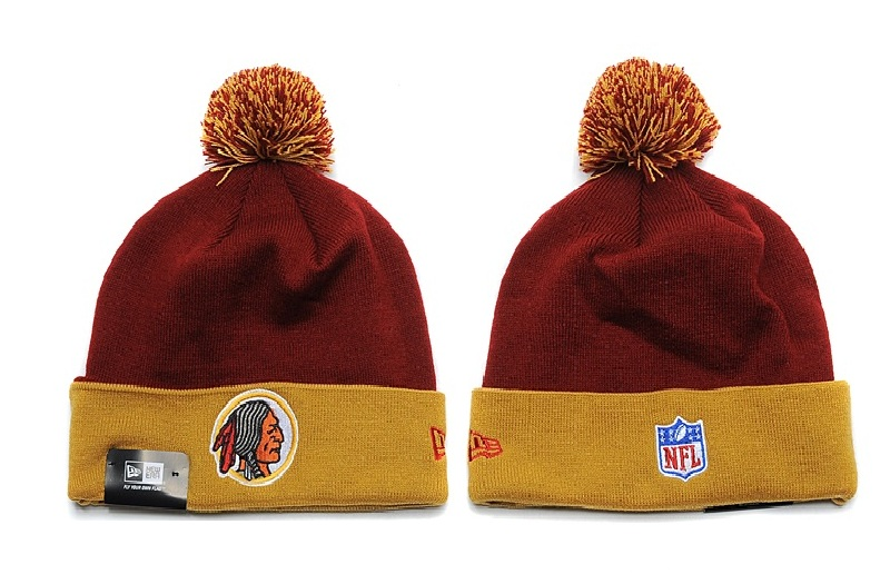 Redskins Fresh Logo Burgundy Gold Pom Knit Hat YD