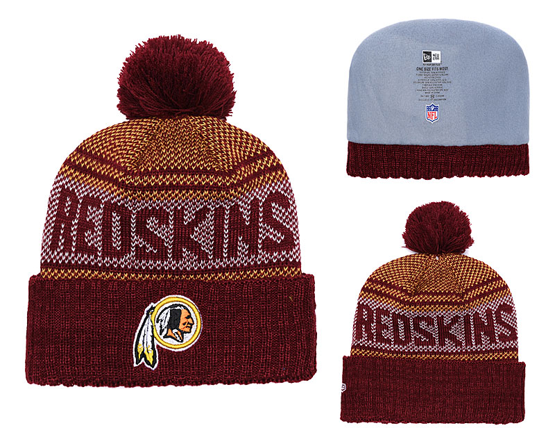 Redskins Fresh Logo Burgundy Pom Knit Hat YD