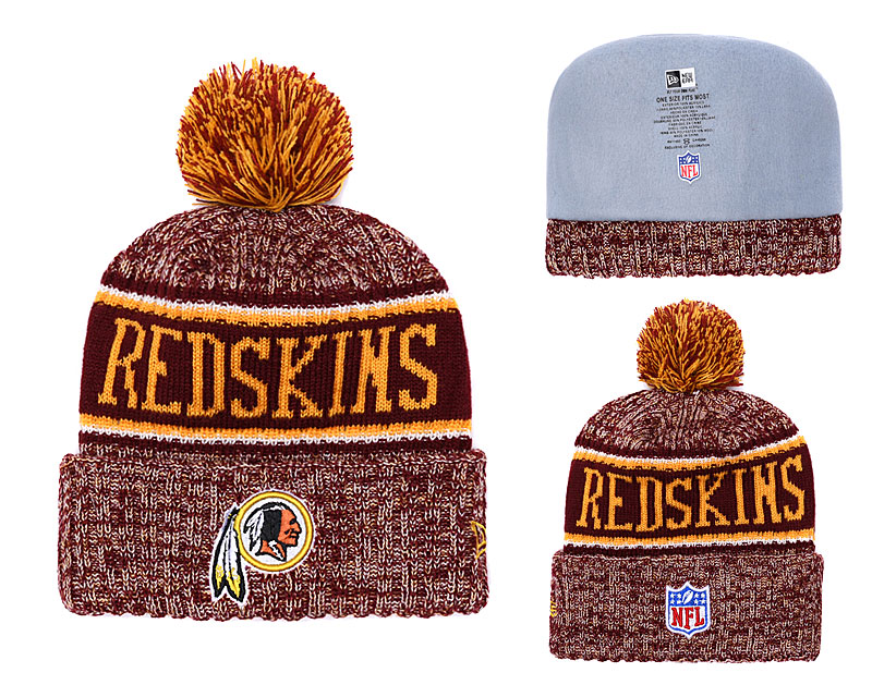 Redskins Team Logo Burgundy Pom Knit Hat YD