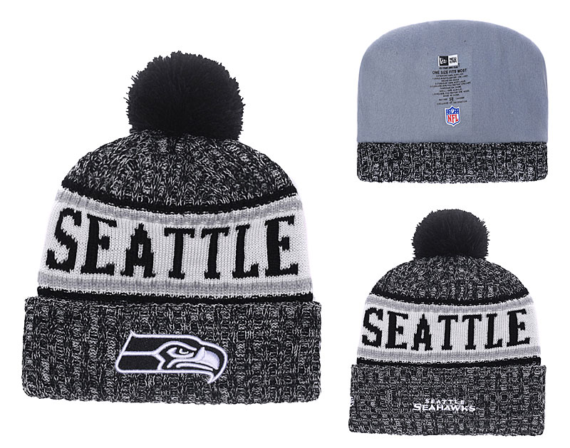 Seahawks Black 2018 NFL Sideline Pom Knit Hat YD