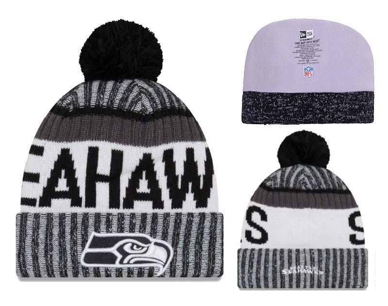 Seahawks Black White 2017 NFL Sideline Pom Knit Hat YD