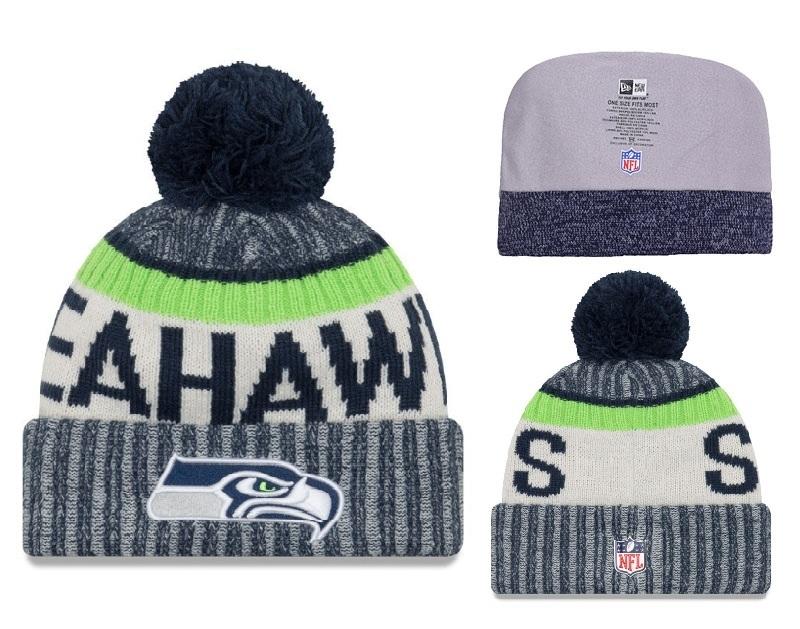 Seahawks College Navy 2017 NFL Sideline Pom Knit Hat YD