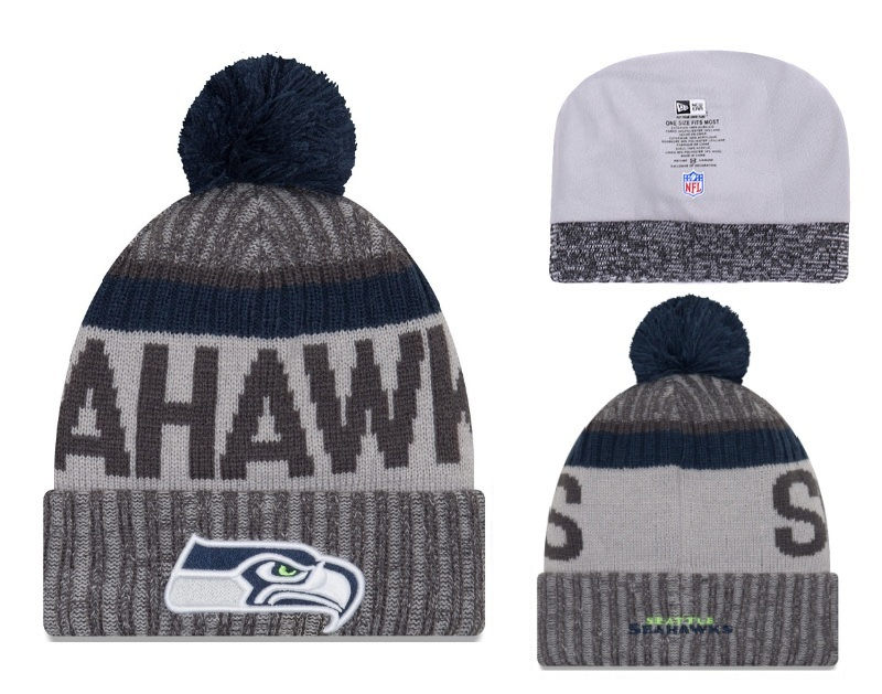 Seahawks Fresh Logo Gray Pom Knit Hat YD