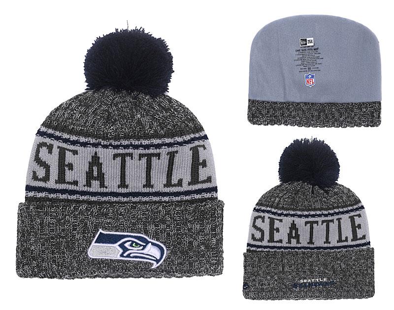Seahawks Graphite 2018 NFL Sideline Pom Knit Hat YD