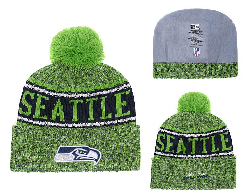 Seahawks Green 2018 NFL Sideline Pom Knit Hat YD