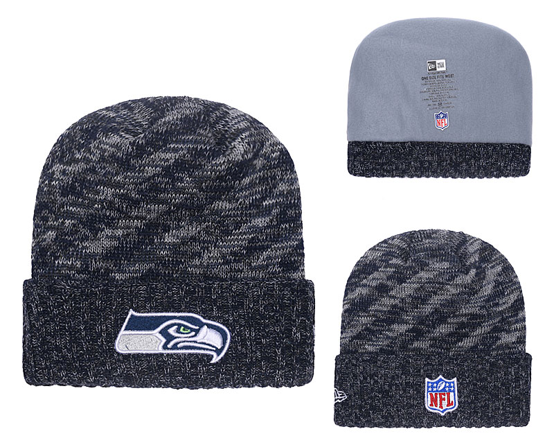 Seahawks Navy 2018 NFL Sideline Cold Weather Cuffed Knit Hat YD