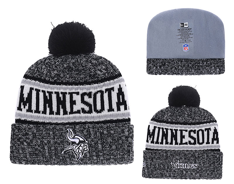 Vikings Black 2018 NFL Sideline Pom Knit Hat YD