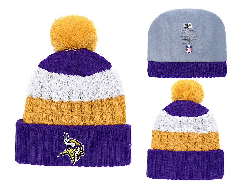Vikings Classic Purple Pom Knit Hat YD