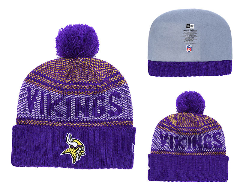 Vikings Fresh Logo Purple Pom Knit Hat YD