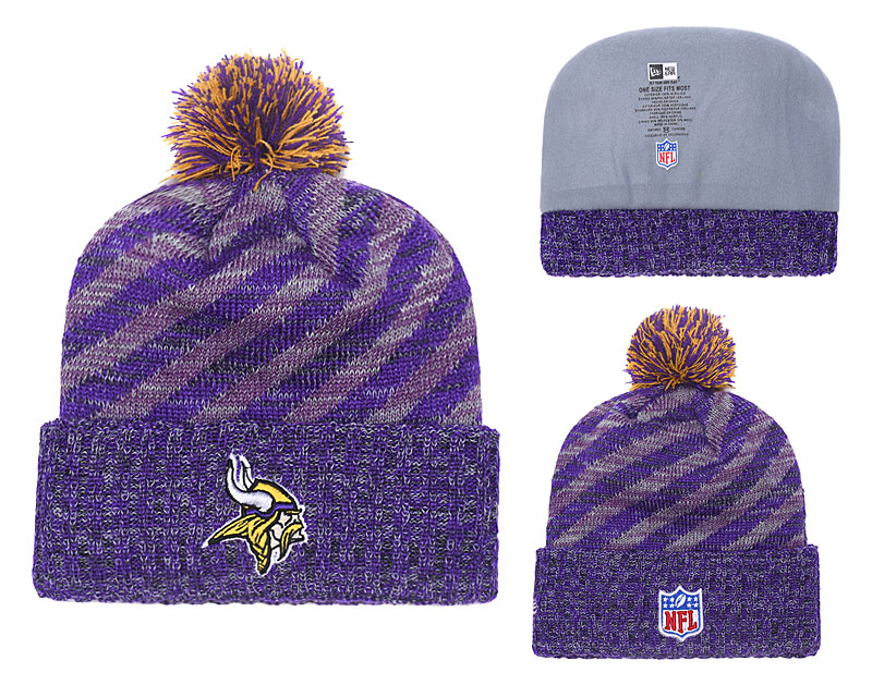 Vikings Purple 2018 NFL Sideline Cold Weather Pom Knit Hat YD