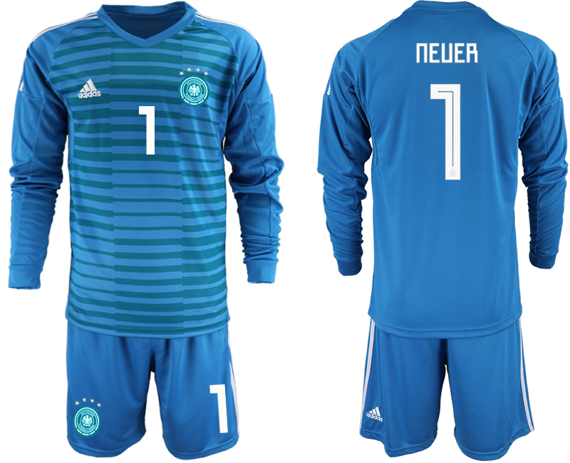 2018-19 Germany 1 NEUER Blue Long Sleeve Goalkeeper Soccer Jersey