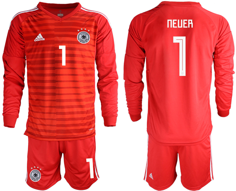 2018-19 Germany 1 NEUER Red Long Sleeve Goalkeeper Soccer Jersey