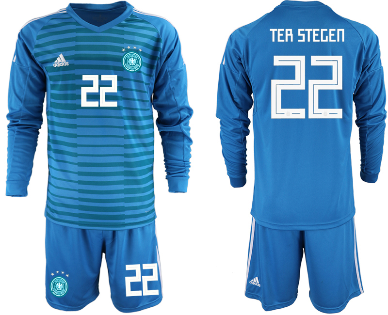 2018-19 Germany 22 TER STEGEN Blue Long Sleeve Goalkeeper Soccer Jersey