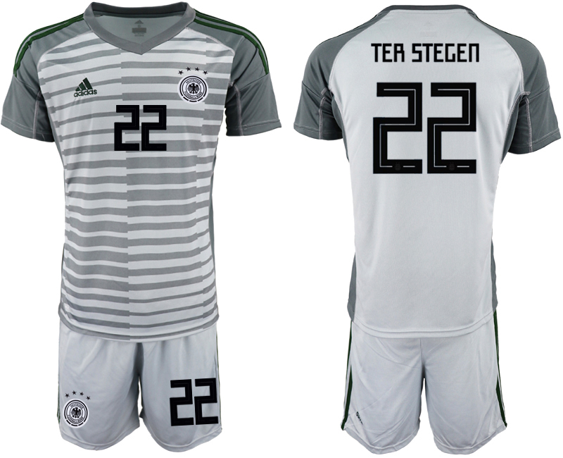 2018-19 Germany 22 TER STEGEN Gray Goalkeeper Soccer Jersey