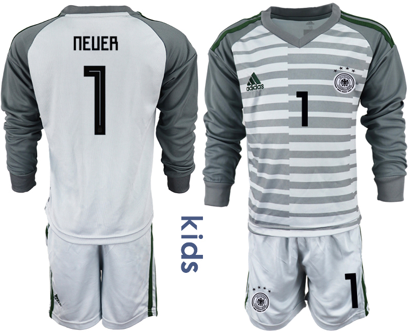 2018-19 Germany 1 NEUER Gray Youth Long Sleeve Goalkeeper Soccer Jersey