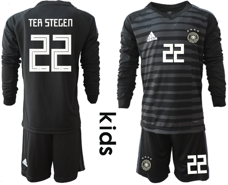 6bece5cb6 2018-19 Germany 22 TER STEGEN Black Youth Long Sleeve Goalkeeper Soccer  Jersey