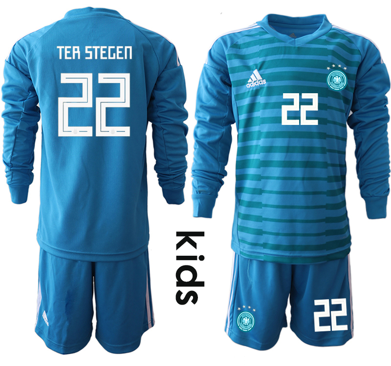 36072b5f7 2018-19 Germany 22 TER STEGEN Blue Youth Long Sleeve Goalkeeper Soccer  Jersey