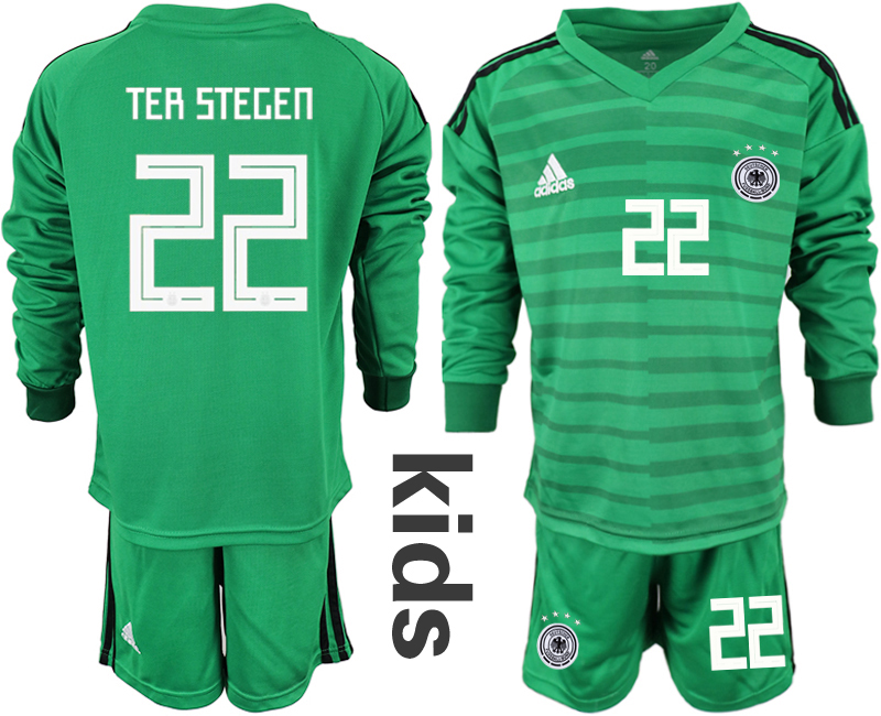 29a8ef565 2018-19 Germany 22 TER STEGEN Green Youth Long Sleeve Goalkeeper Soccer  Jersey