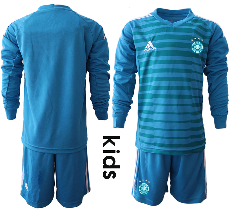 2018-19 Germany Blue Youth Long Sleeve Goalkeeper Soccer Jersey