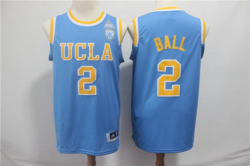 UCLA Bruins 2 Lonzo Ball Light Blue Pac-12 College Basketball Jersey