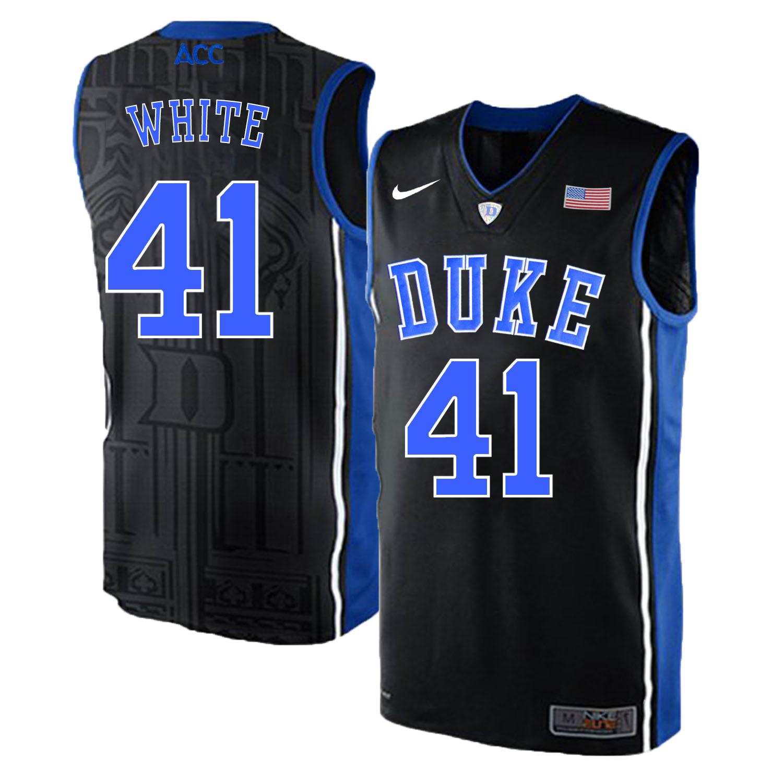 Duke Blue Devils 41 Jack White Black Elite Nike College Basketball Jersey