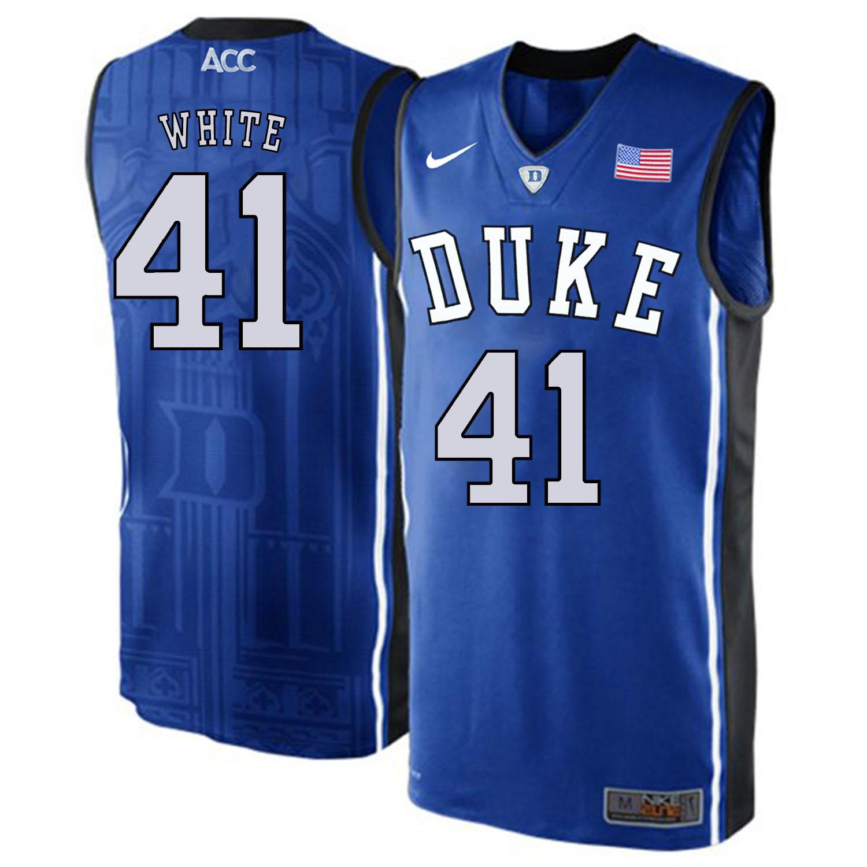 Duke Blue Devils 41 Jack White Blue Elite Nike College Basketball Jersey