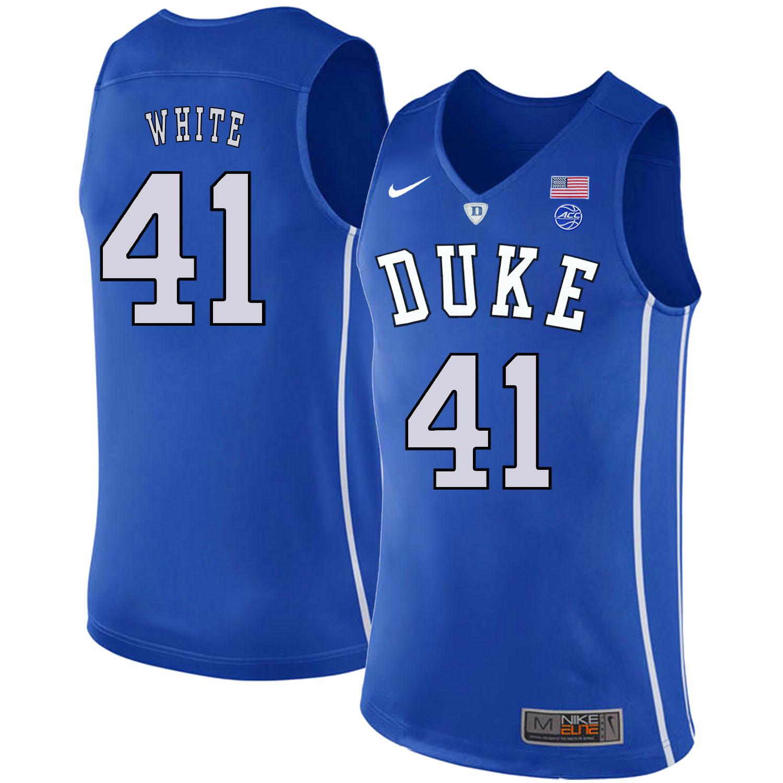 Duke Blue Devils 41 Jack White Blue Nike College Basketball Jersey