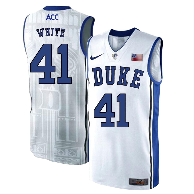 Duke Blue Devils 41 Jack White White Elite Nike College Basketball Jersey