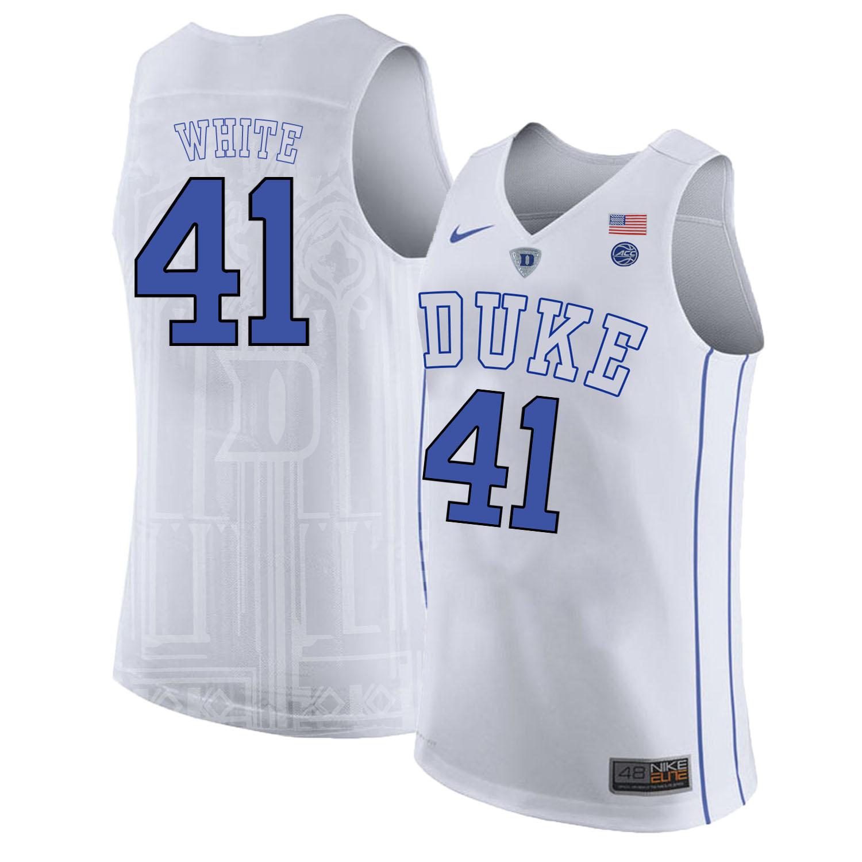 Duke Blue Devils 41 Jack White White Nike College Basketball Jersey