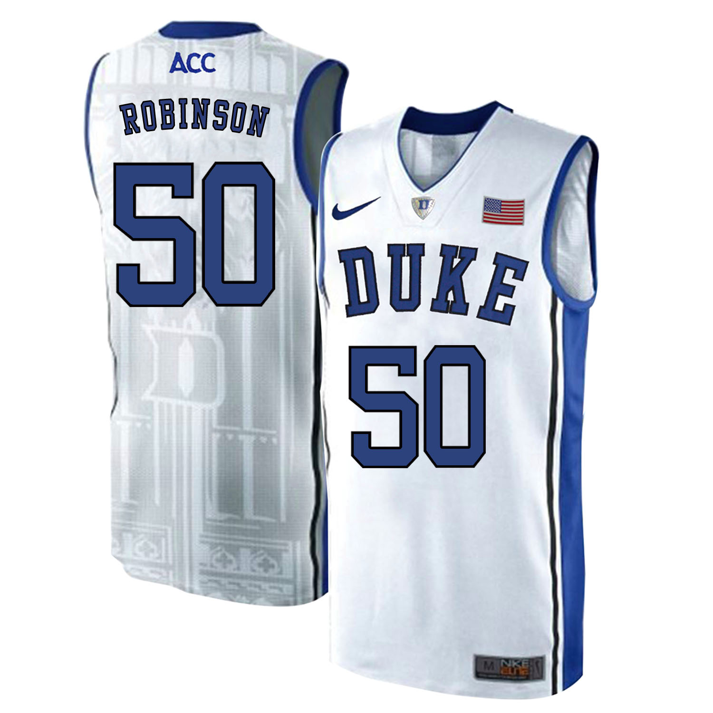 Duke Blue Devils 50 Justin Robinson White Elite Nike College Basketball Jersey