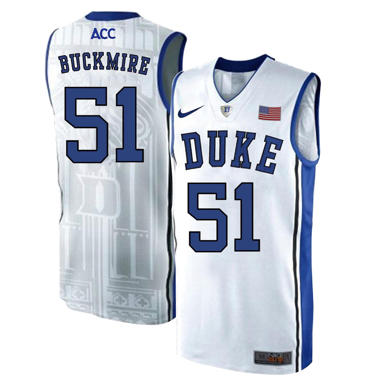 Duke Blue Devils 51 Mike Buckmire White Elite Nike College Basketball Jersey