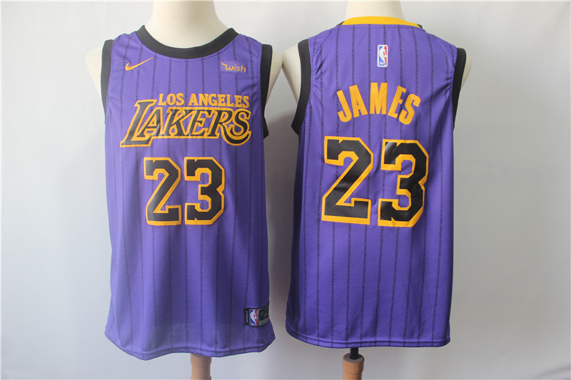 Lakers 23 Lebron James Purple Youth 2018-19 City Edition Nike Swingman Jersey