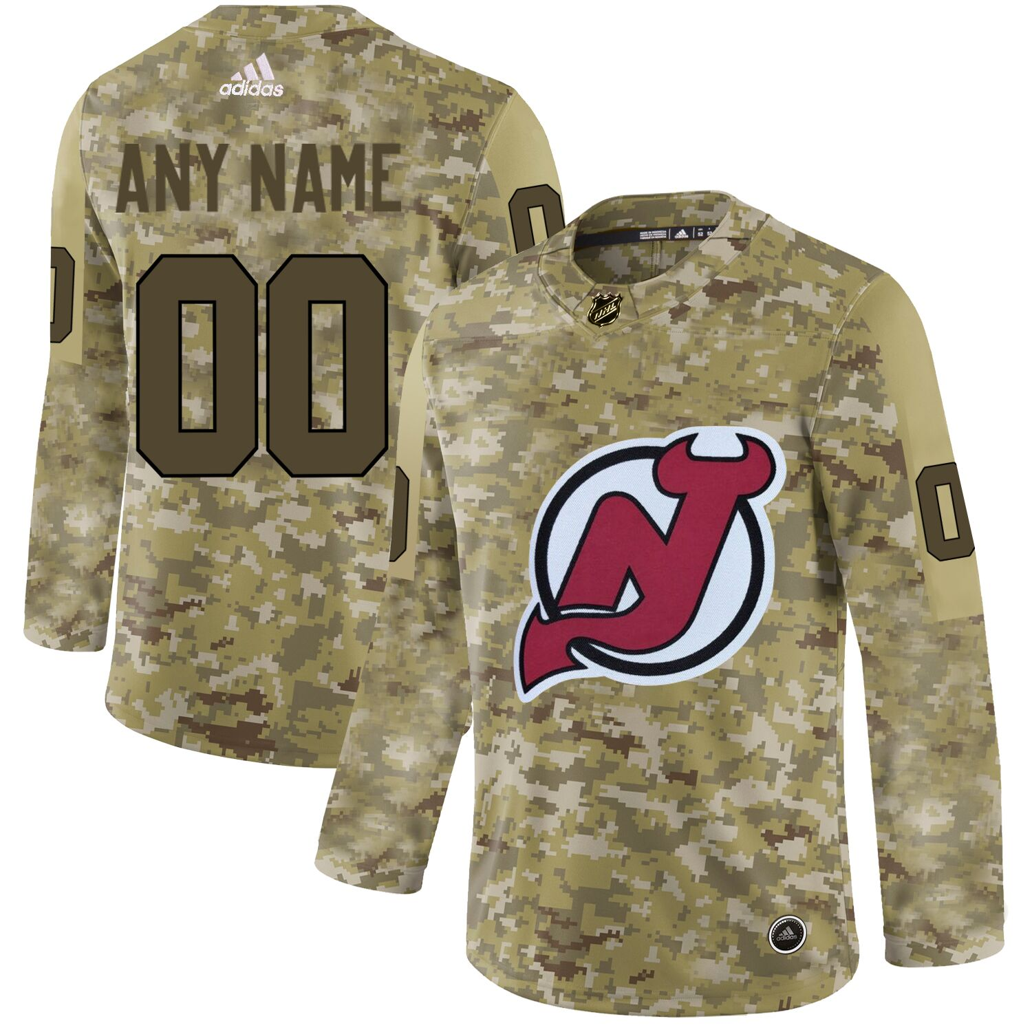 New Jersey Devils Camo Men's Customized Adidas Jersey