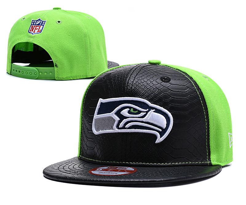 Seahawks Fresh Logo Black Green Adjustable Hat TX