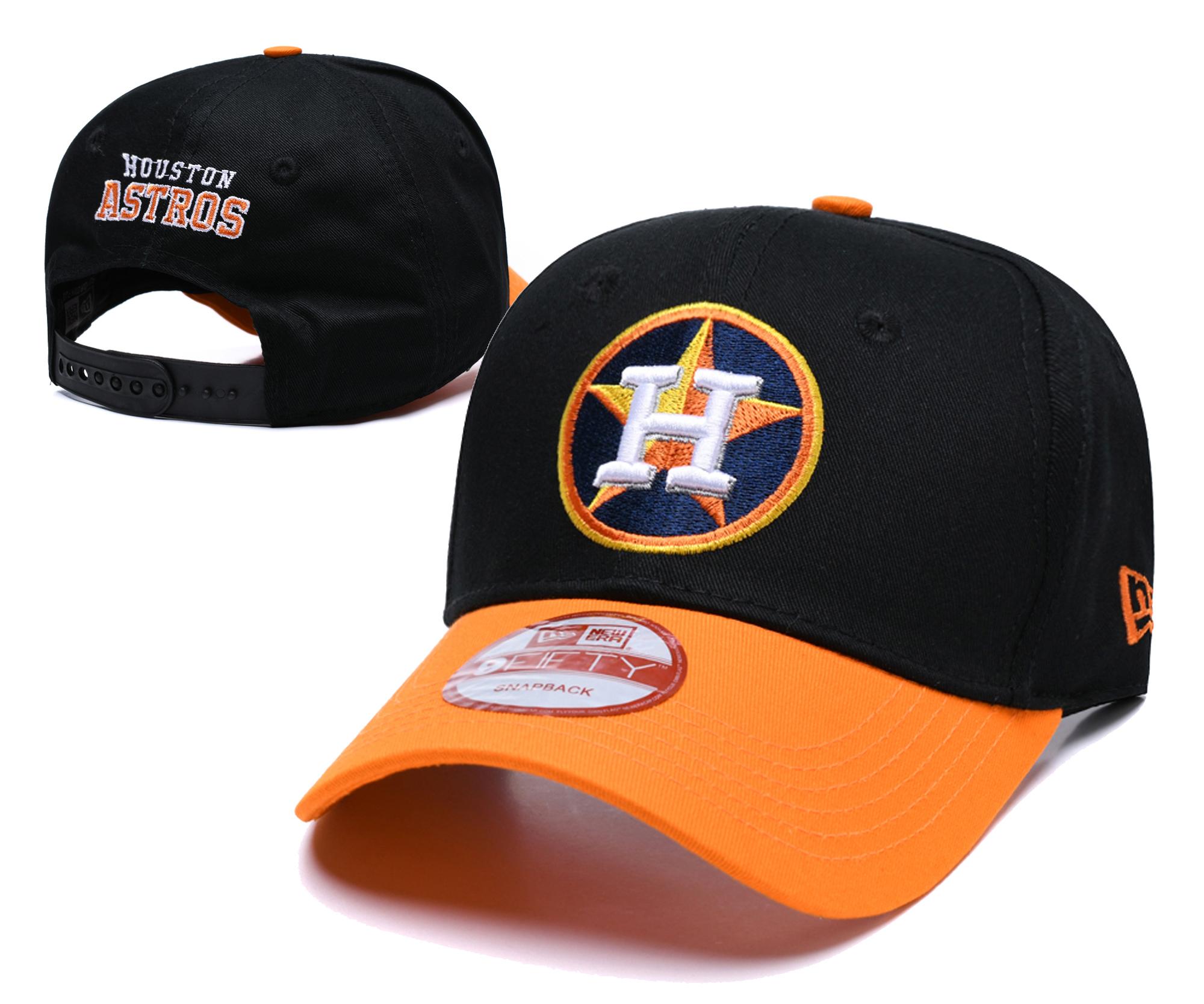 Astros Fresh Logo Black Peaked Adjustable Hat TX