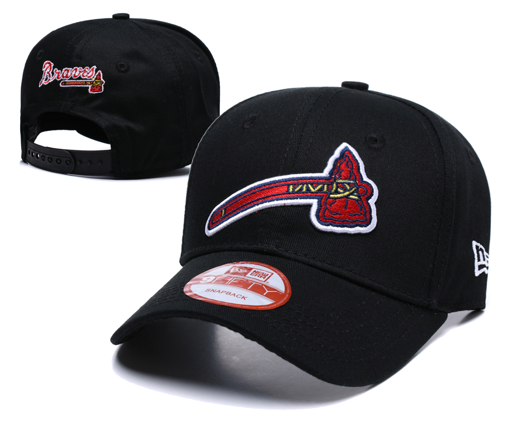 Braves Fresh Logo Black Peaked Adjustable Hat TX