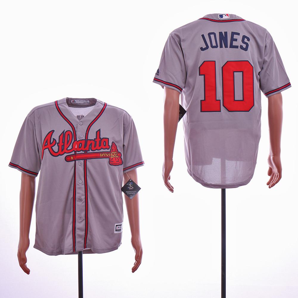 Braves 10 Chipper Jones Gray Cool Base Jersey